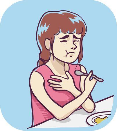 Illustration d'une adolescente mangeant et ayant de la difficulté à avaler de la nourriture Banque d'images