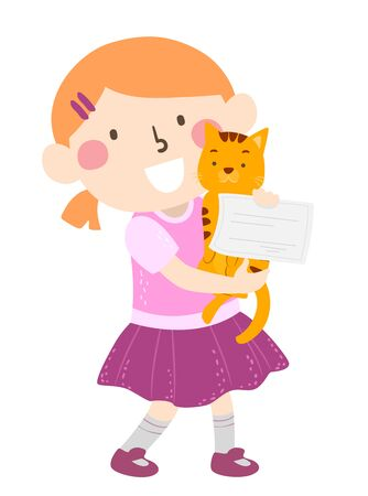 Illustration of a Kid Girl Carrying a Tabby Cat and a Certificate of Adoption Reklamní fotografie