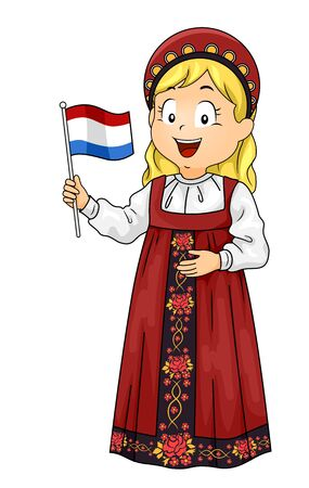 Illustration of a Kid Girl Wearing Russian National Costume and Holding a Flag of Russia Imagens