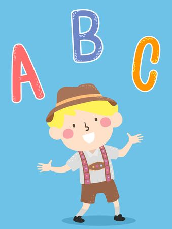 Illustration of a Kid Boy Wearing German Costume with the Letters ABC
