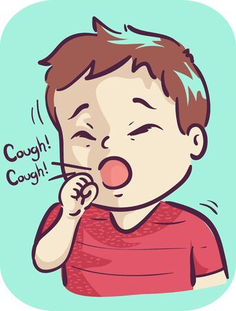 Illustration of a Kid Boy Toddler Coughing Stockfoto