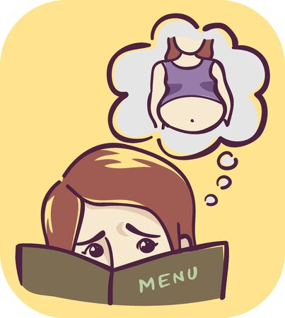 Illustration of a Girl Looking Over a Menu and Thinking About Bloating Stomach