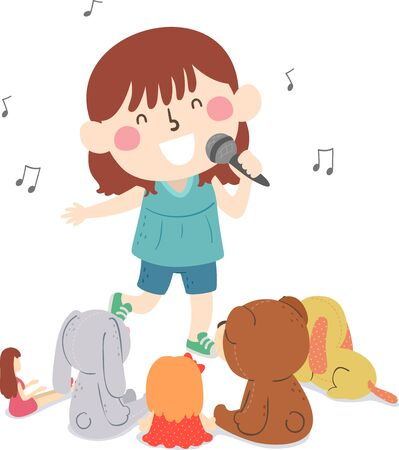 Illustration of a Kid Girl Holding a Microphone Singing In Front of Her Toys Gathered Around