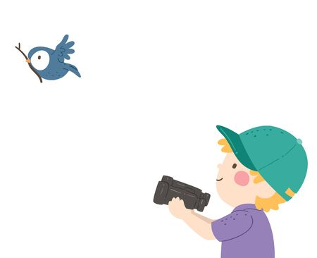 Illustration of a Kid Boy Recording a Video of a Bird Carrying a Stick to Build a Nest