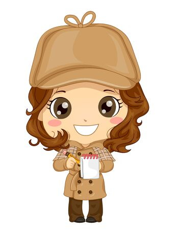 Illustration of a Kid Girl Wearing Brown Hat and Long Coat, Holding a Pencil and Flip Top Pocket Notebook, Playing Detective