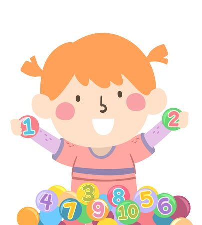 Illustration of a Kid Girl Inside a Ball Pit with a Number on Each Ball