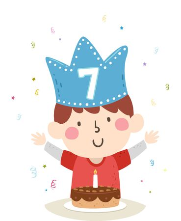 Illustration of a Kid Boy Wearing a Blue Crown with Seven on It with a Birthday Cake Stok Fotoğraf