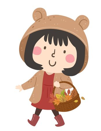 Illustration of a Kid Girl Carrying a Wicker Basket Full of Autumn Leaves She Collected Stock fotó