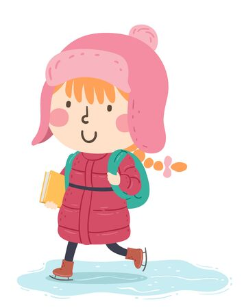 Illustration of a Kid Girl Wearing Winter Coat and Cap, Carrying a Book and Backpack, Skating to School