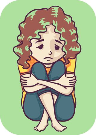 Illustration of an Anxious Kid Girl Sitting Down with Knees Up and Hands Hugging Her Legs Foto de archivo - 131646875