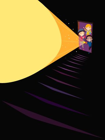 Illustration of Stickman Kids Behind an Open Door to a Staircase Using Flashlight Stock fotó