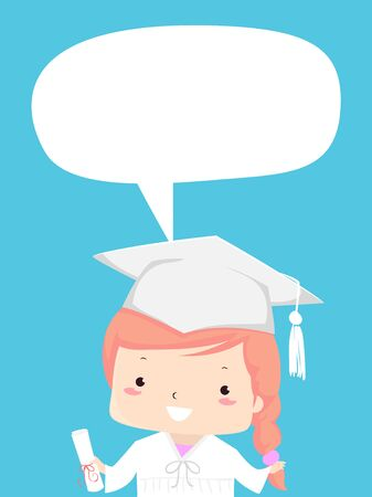 Illustration of a Kid Girl Wearing White Graduation Cap, Gown and Holding Diploma with Blank Speech Bubble