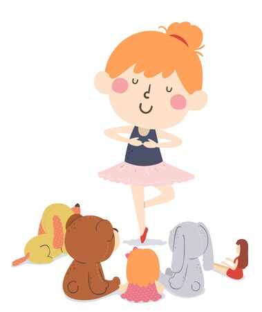 Illustration of a Kid Girl Wearing Ballet Tutu Dancing In Front of Her Stuffed Toys Gathered Around 写真素材