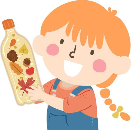Illustration of a Kid Girl Holding a Sensory Bottle with Autumn Elements from Leaves, Pine Cone and Acorn Stock fotó