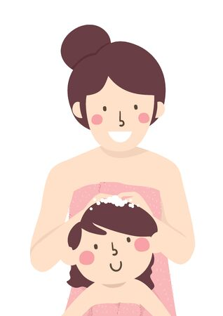 Illustration of a Mother in the Bath, Covered with Towels, Shampooing Her Kid Girl Hair