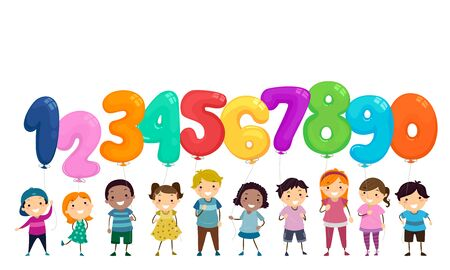 Illustration of Stickman Kids Holding Balloons Shaped as Numbers From One to Zero