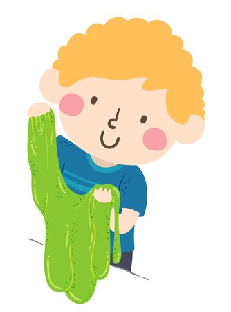 Illustration of a Kid Boy Holding and Playing with a Green Slime Reklamní fotografie
