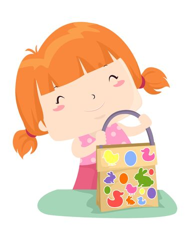 Illustration of a Kid Girl Holding an Easter Egg Hunting Bag She Decorated with Stickers
