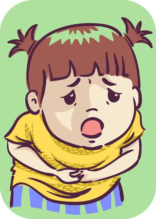 Illustration of a Kid Girl Toddler Holding Her Tummy in Pain