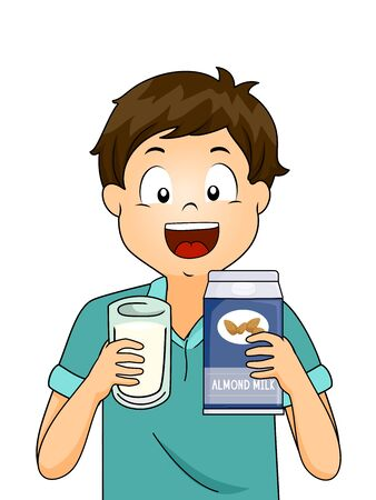 Illustration of a Kid Boy Holding a Glass and Carton of Almond Milk Stock Photo