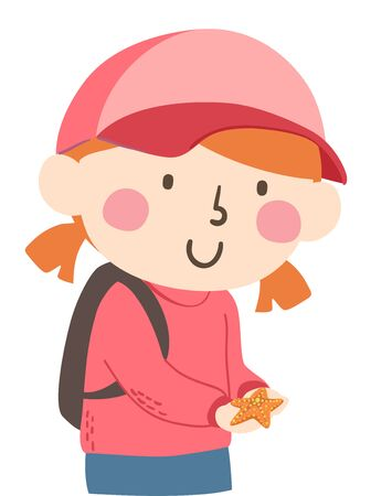 Illustration of a Kid Girl Holding a Starfish and Putting It Back