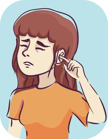Illustration of a Girl Placing Her Finger Inside Her Itchy Ear 版權商用圖片