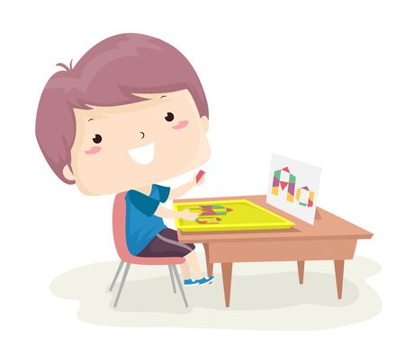 Illustration of a Kid Boy Using Geometric Shape Pattern Blocks and Making the Letter A
