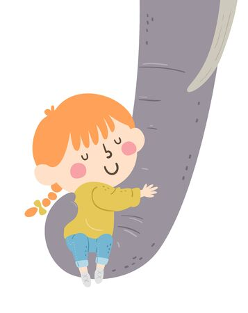 Illustration of a Kid Girl Hugging the Trunk of an Elephant