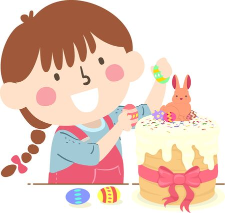 Illustration of a Kid Girl Decorating a Kulich, an Easter Bread, with a Rabbit and Decorative Eggs