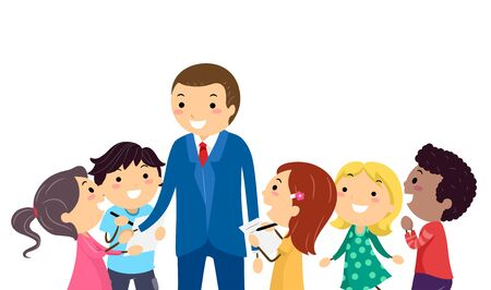 Illustration of Stickman Kids Talking, Interviewing and Taking Notes from a Businessman