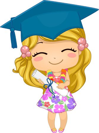 Illustration of a Kid Girl Wearing Floral Dress and Graduation Cap, Holding a Certificate Banco de Imagens