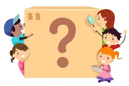 Illustration of Stickman Kids with Note Pad, Magnifying Glass and a Big Mystery Box with a Question Mark