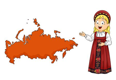 Illustration of a Kid Girl Wearing Russian Costume Showing a Map of Russia