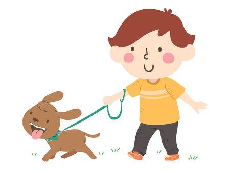 Illustration of a Kid Boy Walking His Pet Dog Banque d'images