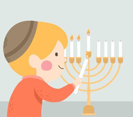 Illustration of a Kid Boy Lighting the Menorah for Hanukkah Stok Fotoğraf