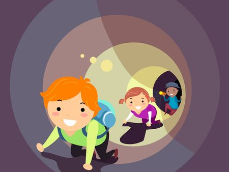Illustration of Stickman Kids Crawling Inside the Tunnel Using Flashlight for Light