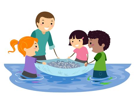 Illustration of Stickman Kids with Teacher and Learning About Fishing Using a Net Stock Photo