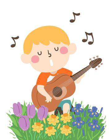 Illustration of a Kid Boy Playing an Acoustic Guitar and Singing a Song in the Garden