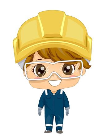 Illustration of a Kid Boy Wearing a Yellow Construction Hard Hat, Goggles, Gloves and Uniform Stock Photo