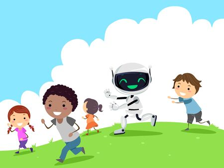 Illustration of a Robot Running After and Playing with Stickman Kids Outdoors