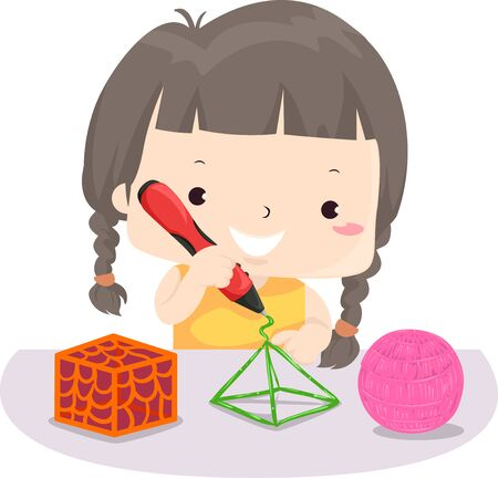 Illustration of a Kid Girl Holding a 3D Printing Pen Making a Pyramid