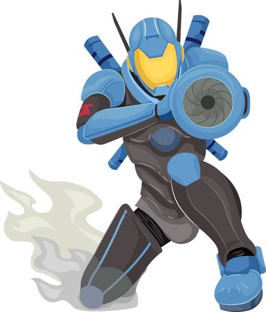 Illustration of a Fantasy Robot Police Kneeling, Holding, Pointing and Aiming a Machine Gun