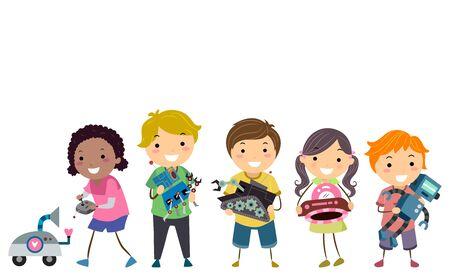 Illustration of Stickman Kids Holding their Robots