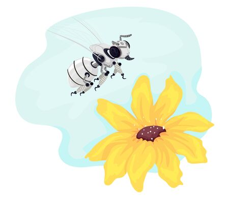 Illustration of a Robot Bee Flying Over a Yellow Flower
