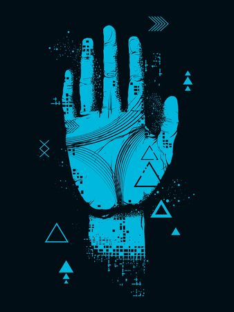 Illustration of a Digital Hand with Bits, Pixels and Lines