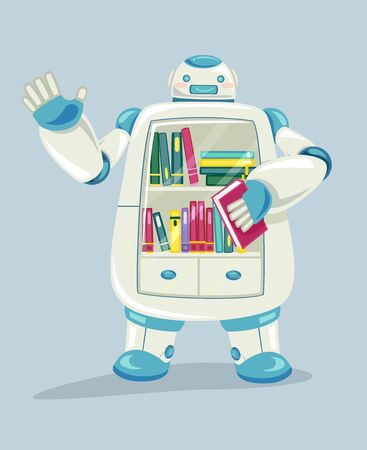 Illustration of a Robot Waving Its Hand with Books Inside as a Mobile Library