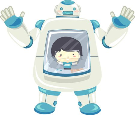 Illustration of a Kid Boy Inside a Robot Controlling It From the Inside