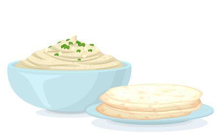 Illustration of Vegan Hummus on Bowl with Pita Bread on Plate 스톡 콘텐츠