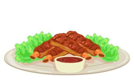 Illustration of Barbecue Ribs with Sauce and Lettuce Dish Archivio Fotografico - 133130784