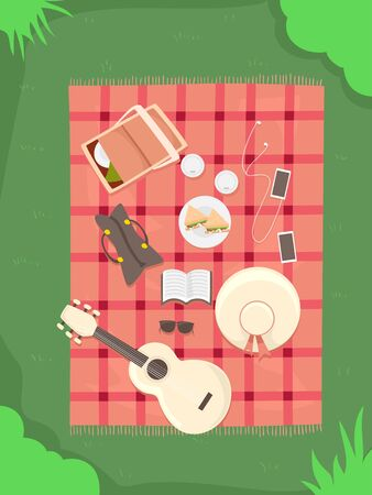 Top View Illustration of a Picnic Setup with Blanket, Guitar, Mobile Phones, Sandwiches, Hat, Book, Bag and Drinks
